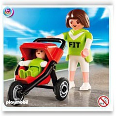 Playmobil Mom With Child In 3 Wheel Jogger